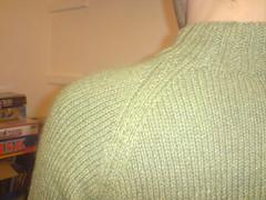 Owen's cardi (Mojen) Tags: green wool knitting knit craft husband yarn jacket owen knitted angora crafty cardigan knitty cardi retrofit crafted blacker owenblacker ravelry