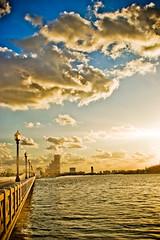 Morning by the bay (eyecbeauty) Tags: morning bridge sky water lamp clouds sunrise florida miami greatshot venetiancauseway distillery biscaynebay aplusphoto theunforgettablepictures thebestshot multimegashot platinumgolddoubledragonawards