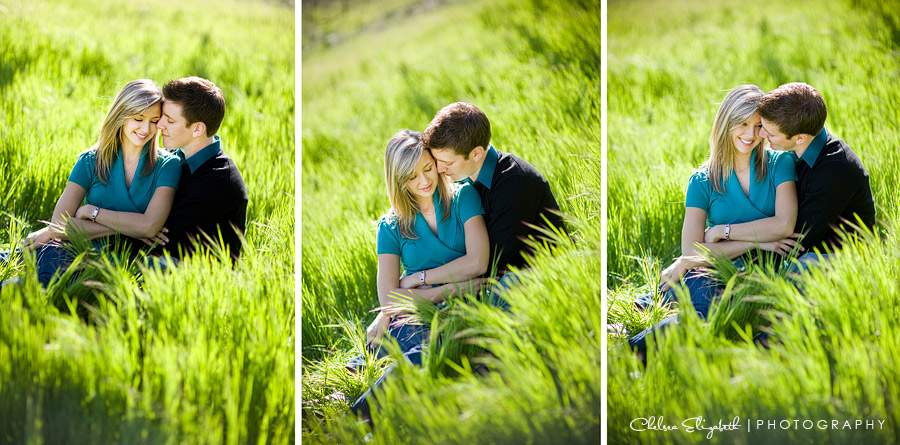 grass field engagement session