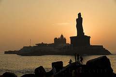 Sunrise point-Kanyakumari, Tamil Nadu (sanjayausta) Tags: ocean sea people india beach water silhouette statue asia south meeting southern tip poet cape waters indians ethnic meet tamil sanjay seas kanyakumari nadu thiruvalluvar austa comrin