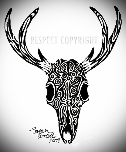 bull skull tattoos. Deer Skull Tattoo