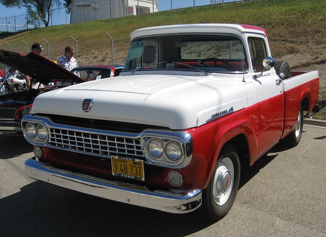 red white ford truck f100 1958