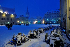 Town Hall Square in winter (http://visittallinn.ee/eng) Tags: city winter snow square europe tallinn estonia medieval townhall oldtown tallinncity toomasvolmer