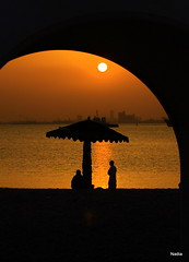 I will always be here no matter where you are (©Helminadia Ranford) Tags: sunset love beach happy golden bahrain pain friend friendship silhouettes peoples memory frame passion moment care asry