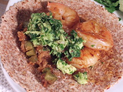 Shrimp Taco with Guacamole and Onion/Japaleno Topping