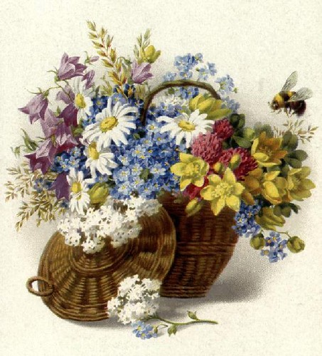 Vintage spring flower basket