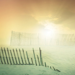 Recluse (ilina s) Tags: light sunset sun nature beautiful sunshine sunrise fence landscape sand warm day glow bright peaceful tranquility rays dreamworld dreamlike 500x500 ilinas winner500 cottonsunday