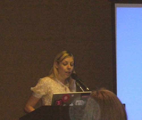 Melissa Gira giving her (awesome) NPR-esque keynote