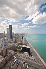 Northbound (: : w i n t e r t w i n e d : :) Tags: city blue sky cloud lake chicago building water skyscraper john nikon michigan awesome bob sigma hancock 1020mm overlook overhead magnificent 10mm d90