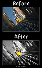 "Before/After - ""Funicular in Lisbon"" (Ben Heine) Tags: travel light shadow wild sun reflection nature sepia photoshop season poster landscape photography countryside frames mac scenery poem glow photographie time nikond70 earth geometry lumière couleurs quality magic details shapes stroke philosophy manipulation harmony memory poet photoediting planet terre trick spirituality portfolio conceptual curve paysage technique wacom retouching tutorial edit rendering beforeafter specialeffects sauvage avantaprès trucs originalversion godspainting digitalshot benheine effetsspéciaux graphicenhancement editingtools tablettegraphique finalwork colourscolors hubertlebizay hubzay flickrunited kleurentones"
