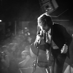 Okkervil River (Kerrie McSnap) Tags: blackandwhite bw music square concert nikon mood moody livemusic band atmosphere billboard gigs okkervilriver willsheff d60 500x500