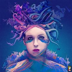 Queen (kaneda99) Tags: blue woman art topf25 water illustration photoshop drawing digitalart octopus illustrator octopussy kaneda kaneda99 wwwnosurprisesit alessandropautasso