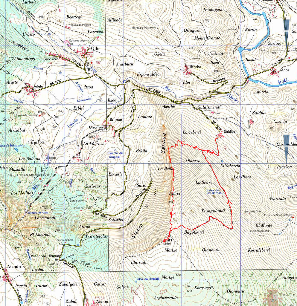 Mapa de la Ascensión al Mortxe (1123 m.)