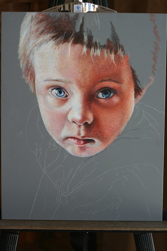 In progress colored pencil drawing entitled Matthew.