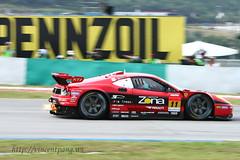 Super GT 2009 @ SIC (www.vincentpang.ws) Tags: car canon eos super ferrari flame burn gt 2009 sepang sic 40d