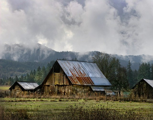 Barn with Clouds