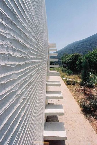 Exterior stairs to roof, house on Andros, Greece