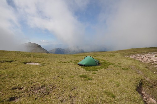 Mist lifting from camp on Cul Mor