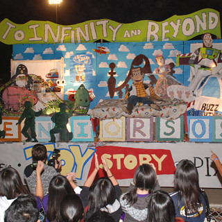 The class of 2009 cheers for its Toy Story-themed float at the Homecoming game last year.  This year may be the last for floats, as FUHSD schools are getting all-weather tracks with vehicle restrictions.