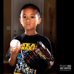 245/365 (Eric V. Santos) Tags: family light boy portrait project kid baseball creative son highlights 365 kenny mitt strobist