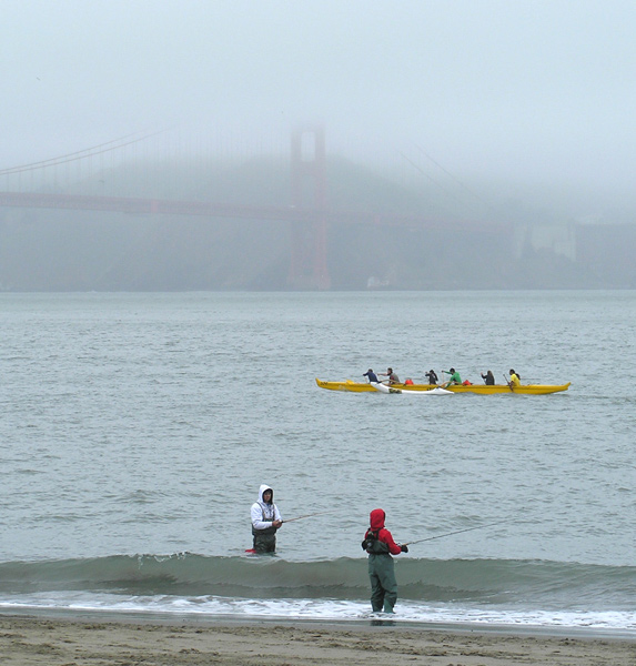Fishermen and kayakers at Golden Gate Bridge