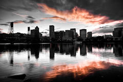 We call it, Portland (Squid Vicious) Tags: sunset red clouds canoneos20d hawthornebridge portlandoregon willametteriver hdr fav10