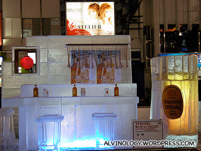 Beer counter made from ice