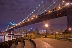 Curvy Overview (TomBrooklyn) Tags: park nyc longexposure bridge water skyline architecture brooklyn night river waterfront manhattan dumbo manhattanbridge eastriver tombrooklyn