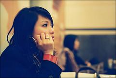 thinking about... (Twiggy Tu) Tags: portrait film bokeh taiwan taipei nia nikkor50mmf18 2009 nikonfm2 cafeshop coffeetime