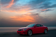 G37 Sunset (Mishari Al-Reshaid Photography) Tags: road sunset red sea cars water car clouds photoshop canon japanese seaside automobile nissan wheels kuwait autos canondslr canoneos coupe photoshopcs2 automobiles sportscars infiniti q8 redcar carphotography japanesecars 24105 flashes canonef24105f4l 2door gtm carphoto canoncamera redcars canoneflens 24105mm q80 japanesecar canonllens g37 40d mishari canonef24105f4lis kuwaitphoto kuwaitphotos 580exii canoneos40d canon40d kuwaitcars kvwc kuwaitartphoto gtmq8 kuwaitart kuwaitvoluntaryworkcenter kuwaitvwc grendizer99 madvette canon580exiiflash kuwaitsunsets kuwaitphotography grendizer99photos misharialreshaid malreshaid misharyalrasheed