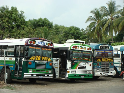 Colourful busses in El Salvador.