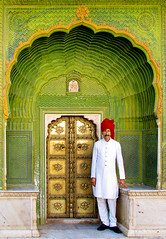 Royal Guard @ City Palace, Jaipur, Rajasthan, India (Jitendra Singh : Indian Travel Photographer) Tags: door travel red india white green monument architecture gold golden gate guard decoration royal palace jaipur rajasthan citypalace rajput jiten jitendra jitender jitendrasingh indiaphoto bestphotojournalist darbaan wwwjitenscom maharajaswaimansingh gettyphotographer bestindianphotographers jitensmailgmailcom wwwindiantravelphotographercom famousindianphotographer famousindianphotojournalist gettyindianphotographer