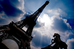 Libertie (* Garron Nicholls *) Tags: blue sky horse sun paris france tower silhouette statue clouds eiffeltower eiffel francais garron