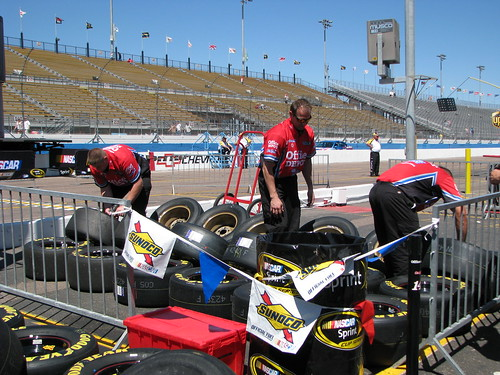 Tony Stewarts Office Depot pit crew gets things ready for the evening race.