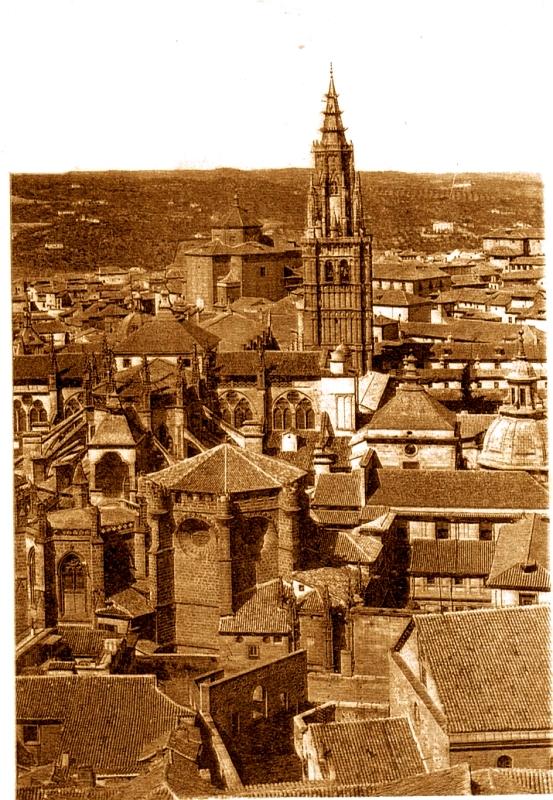 Catedral de Toledo antes de 1910 aún con el Cimborrio en pie