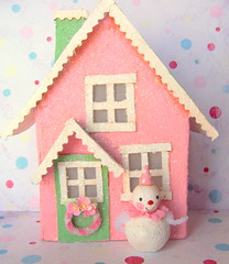 Winterland Cottage (thepolkadotpixie) Tags: art paper folk ooak polka dot pixie clay sculpted zne