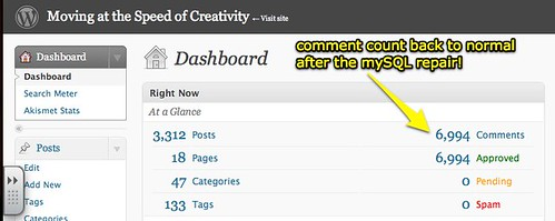 Comment count in WordPress dashboard back to normal