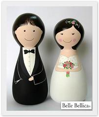 Noivos - Eliza e Wellington (Belle Bellica) Tags: wedding groom bride smoking bouquet casamento boneca rosas noiva woodendoll noivo noivos noivinhos topodebolo topcake bellebellica