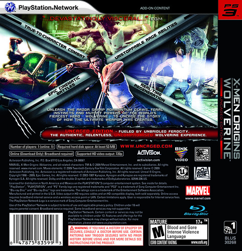 X-Men Origins: Wolverine Back of Box