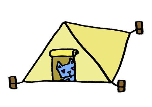 テントから顔を出す三角うさぎ