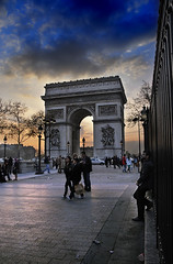 Arc de Triomphe Sunset (jssutt) Tags: sunset paris france submitted clouds tourists pedestrians arcdetriomphe dri hdr photomatix digitalblending flickrsbest jssutt jeffsuttlemyre