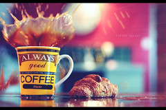 Coffee Splash (geeo123) Tags: food cup coffee canon ball 50mm gold cookie drink bokeh mug croissant always taste splash