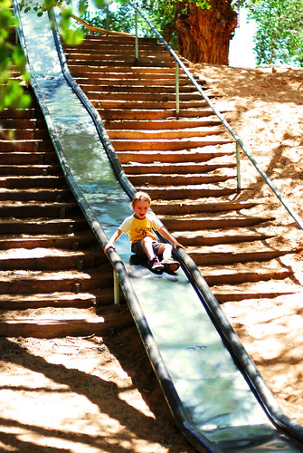 Zooming down the crazy slide...