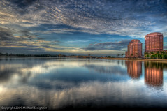 Phillips Point before the start of the day - West Palm Beach (and the first post of a weekly subject - Time-Lapse Tuesday!) (MDSimages.com) Tags: world travel bridge summer sky usa reflection water june skyline architecture clouds digital america sunrise buildings point photography harbor blog timelapse nikon media waterfront unitedstates florida south phillips westpalmbeach east processing northamerica ripples southeast deco palmbeach 2009 hdr highdynamicrange d3 intracoastal palmbeachcounty westpalm photomatix hdrsky nikond3 hdrtimelapse michaelsteighner mdsimages hyliteproductions palmbeachbikepath photomike07 mdsimagescom hylitecom