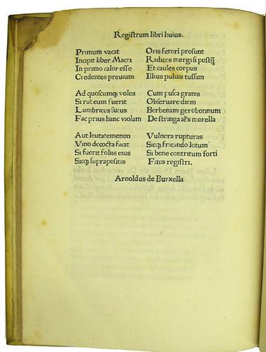 Registrum in Odo Magdunensis: De viribus herbarum carmen
