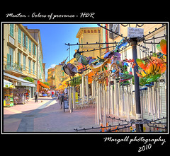 Menton - Colors of provence - HDR  by Margall (Margall photography) Tags: street people france colors canon photography s tourist souvenir marco provence 18 55 francia ef hdr menton turisti provenza mentone 30d galletto margall