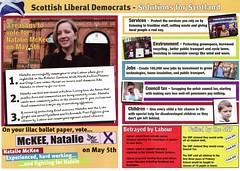 Liberal Democrats Scottish Election Leaflet, 2011 (Scottish Political Archive) Tags: mckee scotland election glasgow scottish kelvin publicity campaign democrat liberal 2011