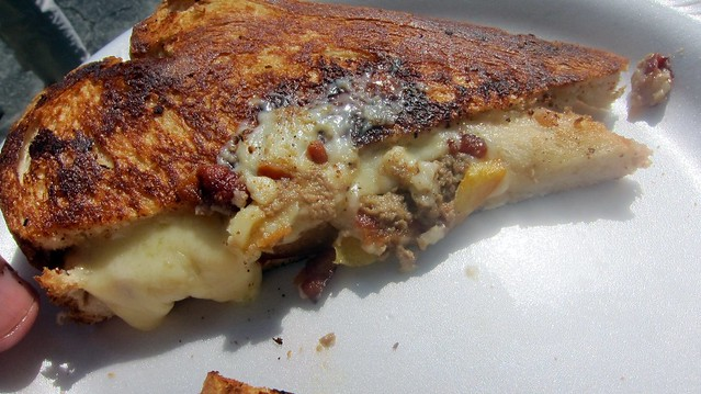 roxy's foie gras grilled cheese with bacon and peaches