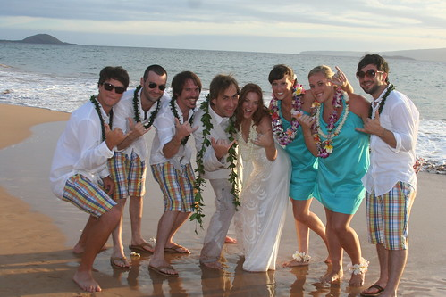 the wedding party complete with man of honor funky plaid shorts