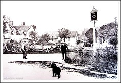 THREE MEN AND A DOG (Norfolkboy1) Tags: england pen ink suffolk stipple rapidograph pointillism wheelwright originaldrawing theploughinn tyegreen glemsford mrhartley panthonybromage